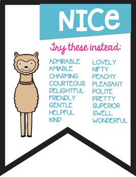 No More Boring Words Colored Banners with a Llama Alpaca Theme