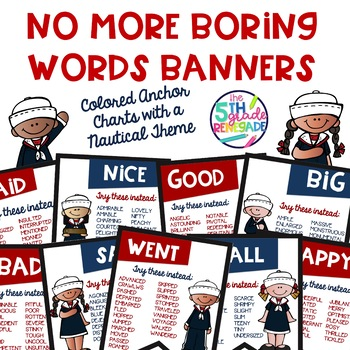 No More Boring Words Colored Banners with a Nautical Theme