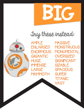 No More Boring Words Colored Banners with a  Star Wars Theme