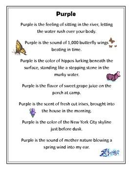 No More Grapes - Color Figurative Language Poetry Workshop