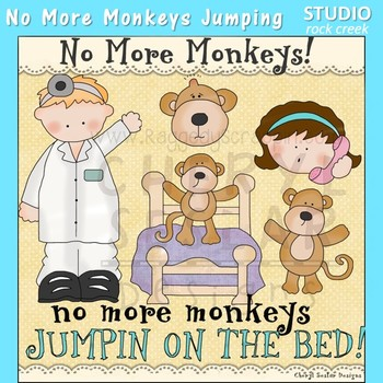 No More Monkeys Jumping on the Bed! Nursery Rhyme Clip Art