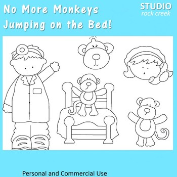 No More Monkeys Jumping on the Bed! Nursery Rhyme line Art C Seslar