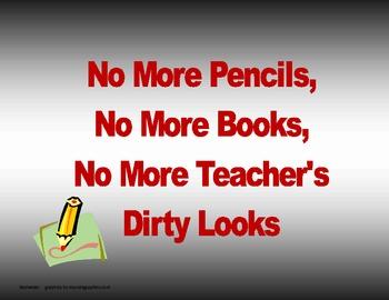 No More Pencil End of School Year Activity