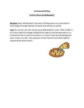 No More Pizza On Wednesday On Demand Writing Activity