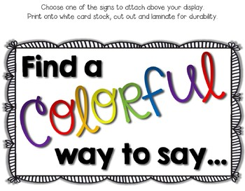"""COLORFUL Synonyms Display --- No More """"Tired"""" Words Interactive Bulletin Board"""