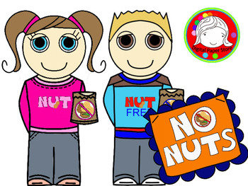 No NUTS! Signs, Kids, and More Clipart (Personal & Commercial Use)