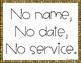 No Name No Date Mini Poster