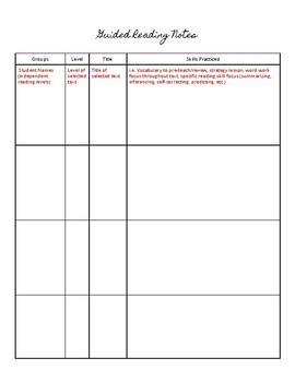 No-Nonsense Guided Reading Note-Taking Sheet