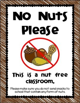 No Nuts Please - Classroom Sign {freebie}