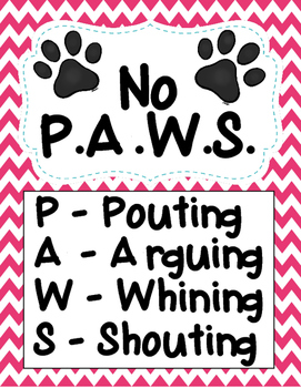 No P.A.W.S. Poster - 11 Colors to Choose From!