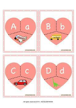 No PREP Heart Puzzles - Numbers & Alphabet Matching Puzzles - Color & B&W