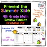 No Prep PRINTABLE Fourth Grade Math Skills Review- Prevent the Summer Slide