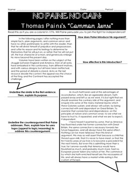 "No Paine, No Gain: A Rhetorical Analysis of Thomas Paine's ""Common Sense"""