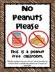 No Peanuts Please - Classroom Sign {freebie}