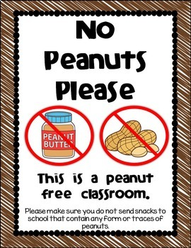 No Peanuts Please - Classroom Sign {freebie} by Live Love Learn with Miss  Kriss