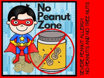 No Peanuts or Tree Nuts Posters Superhero Themed