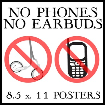 picture regarding Printable Phones named No Telephones and No Earbuds -- 3 8.5 x 11 Printable Posters
