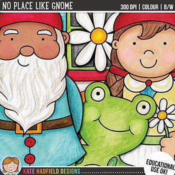 "Garden Gnome Clip Art: ""No Place Like Gnome"""