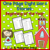 No Prep: 1-Page Easy Sight Word Stories for the Beginning of the School Year