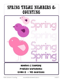 No Prep! 145 Spring Themed Math Worksheets, Numbers &  Counting Grade 0
