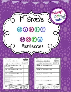 No Prep 1st Grade Sight Word Sentences & Cut & Paste Digra