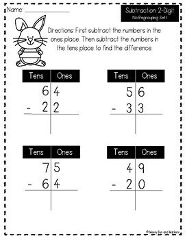 No Prep 2-Digit Subtraction: No Regrouping/Borrowing