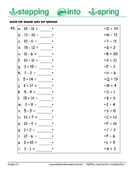 No Prep! 230 Spring Themed Math, Basic Operations Worksheets, Grade 2-3
