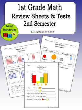 No Prep - 2nd Semester Math Reviews & Tests