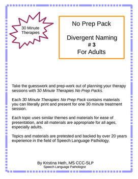 No Prep 30 Minute Therapies Letter Identification Naming and Attention 3 pages