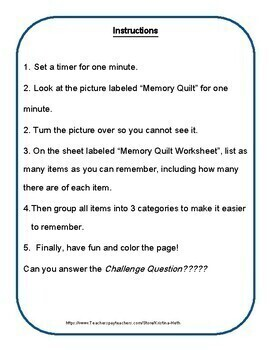 No Prep 30 Minute Therapies Printable Memory and Recall Worksheet