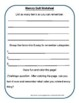 No Prep 30 Minute Therapies Printable Memory and Recall Worksheet