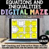 Digital Maze Equations & Inequalities Google Slides 6th Gr