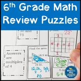 No Prep 6th Grade Math Review Puzzles