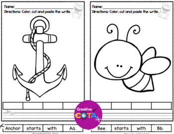 No Prep ABC Worksheets Coloring Cut and Paste Sentence