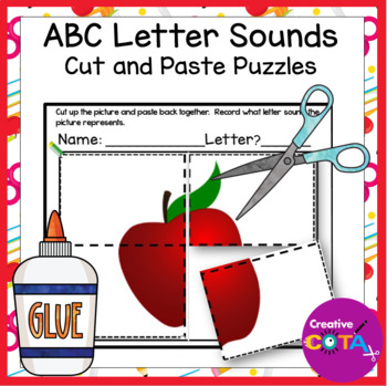 No Prep ABC worksheets Cut and Paste Picture Puzzles