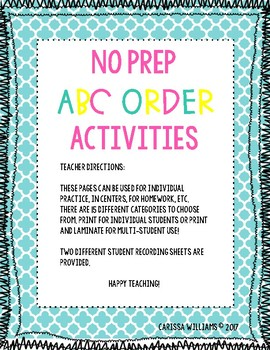 No Prep ABC Order Activities