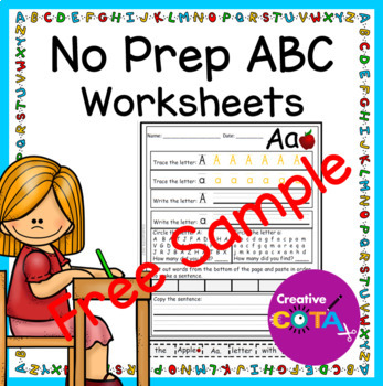 No Prep ABC worksheet free sample