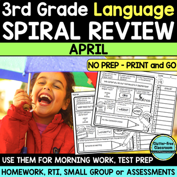 3RD GRADE Homework Morning Work for LANGUAGE & GRAMMAR - APRIL NO PREP