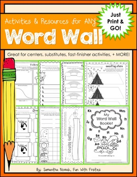 """No-Prep Activities & Resources for ANY Word Wall ...just """"Print & GO!"""""""
