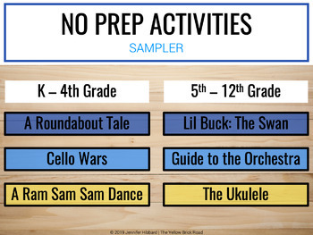 No Prep Activities for Music Sampler