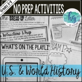 No Prep Activities for any U.S. or World History Class