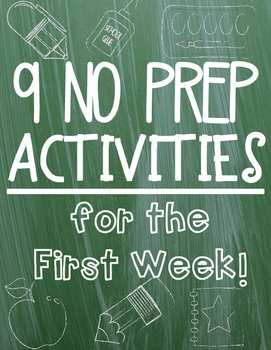 No Prep Activities for the FIRST WEEK!