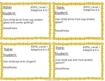 No Prep Adaptive Skills Assessment Cards aligned w/AEPS