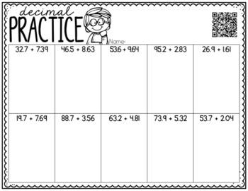 No Prep Adding & Subtracting Decimal Printables--Centers, Small Groups, Homework