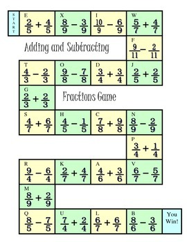 No Prep Adding and Subtracting Fractions with Like Denominators Game 4.NF.B.3.A