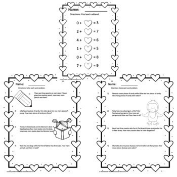 No-Prep Addition Worksheets