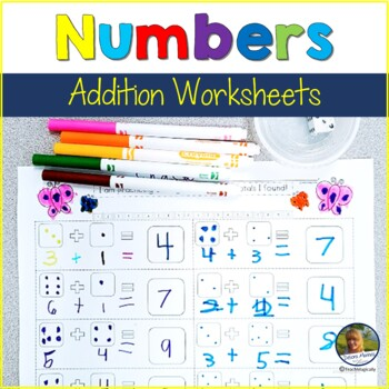 No Prep Addition Worksheets & Numeration Game Butterfly Theme