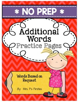 No Prep Additional Words Practice Pages