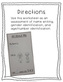No Prep All About Me Assessment Worksheet