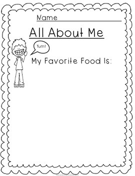 No Prep All About Me: My Favorite Food